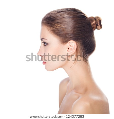 beautiful young woman with healthy face and clean skin isolated on white background - stock photo