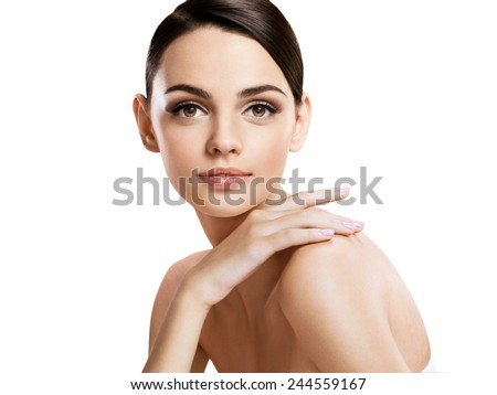 Beautiful young woman with make up face / photo composition of brunette girl  - isolated on white background  - stock photo