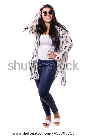 Beautiful young woman with sunglasses posing in studio, isolated over white - stock photo