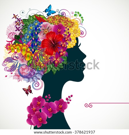 Beautiful young woman with tropicl flowers in heir hair. Illustration greeting card beauty and fashion.  - stock photo