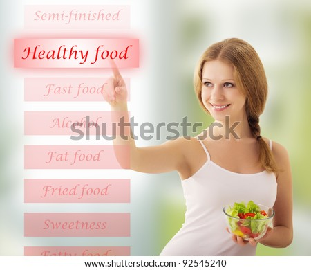 beautiful young woman  with vegetable salad choose healthy food - stock photo