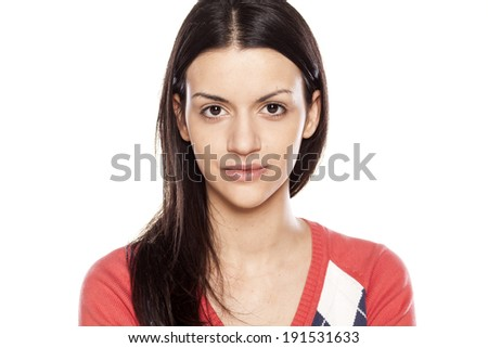 beautiful young woman without make up on her face - stock photo