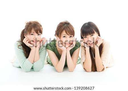 Beautiful young women isolated on white background - stock photo
