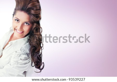 Beautiful young women, space for your text - stock photo