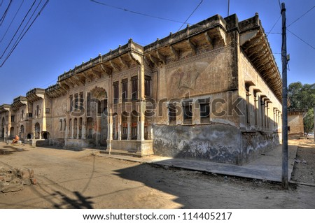 Beautifull Haveli Nadin in Fathepur, Rsidence for the Prince of Fathepur, Rajasthan, India - stock photo