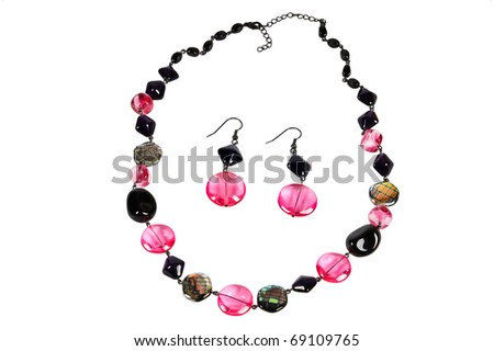 beautifull necklace with earrings over white - stock photo
