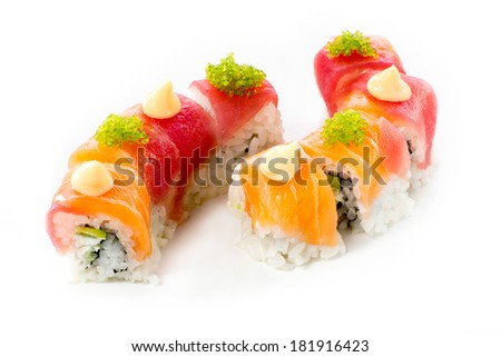 beautifull sushi roll on white background - stock photo