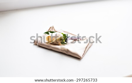 Beautifull white rose boutonniere flower. wedding boutonniere - stock photo