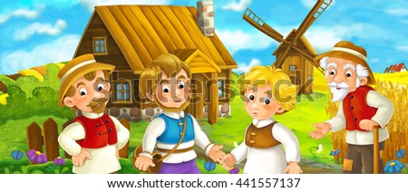 Beautifully colored scene with cartoon character - old man standing and talking to group of people - friends or family - windmill in the background - illustration for children - stock photo