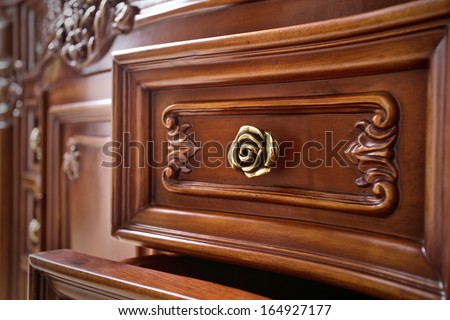 Beautifully crafted wood furniture - stock photo