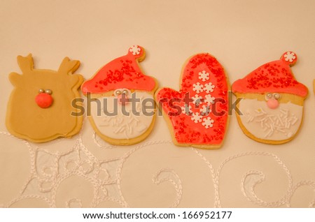 Beautifully decorated holiday cookies to celebrate the festive season - stock photo