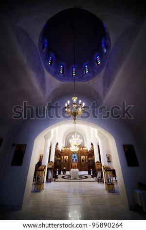 Beautifully decorated orthodox church interior - stock photo
