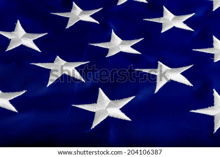 beautifully embroidered stars on the flag states - stock photo