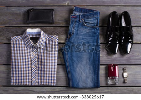 Beautifully laid out an exclusive men's clothing. - stock photo