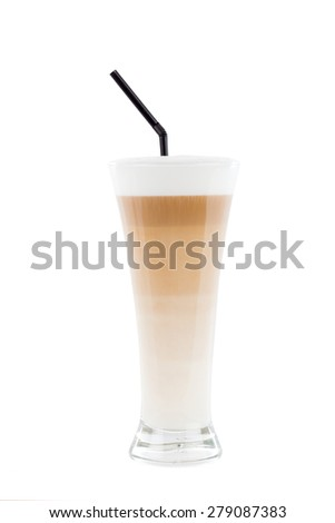 Beautifully layered fresh and tasty latte macchiato. - stock photo