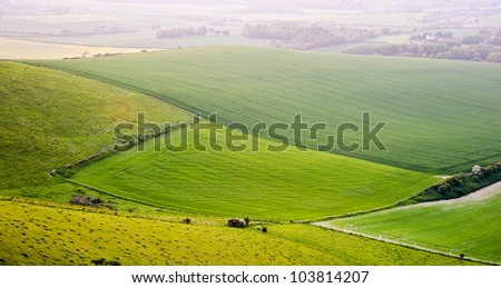 Beautifully lit by evening light English countryside rural landscape - stock photo