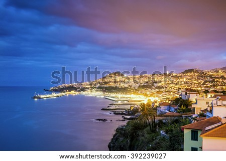 Beautifully located capital city of Madeira, Funchal, Portugal - stock photo