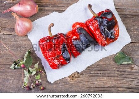 Beautifully roasted red bell peppers - stock photo