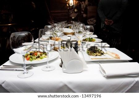 beautifully served table in a restaurant; - stock photo