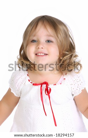 beauty a little girl on white background - stock photo