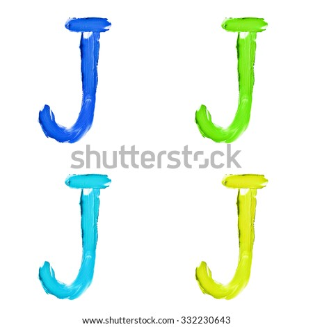 """Beauty alphabet set - blue, green and yellow dye letters isolated on white background. """"J"""" letter. - stock photo"""
