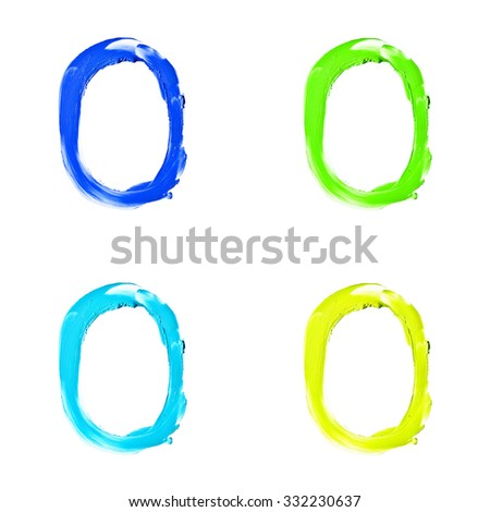 "Beauty alphabet set - blue, green and yellow dye letters isolated on white background. ""O"" letter. - stock photo"