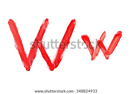 "Beauty alphabet set - red lipstick letters isolated on white background. ""W"" letter. - stock photo"