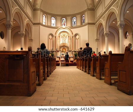 Beauty and architecture of a Manhattan, New York Church during a wedding ceremony. - stock photo