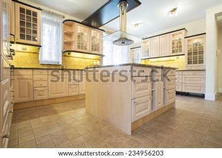 Beauty and bright kitchen interior in traditional sty - stock photo