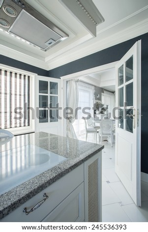 Beauty and elegant interior with gray painted walls - stock photo