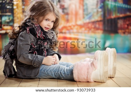 Beauty and fashion child girl - stock photo