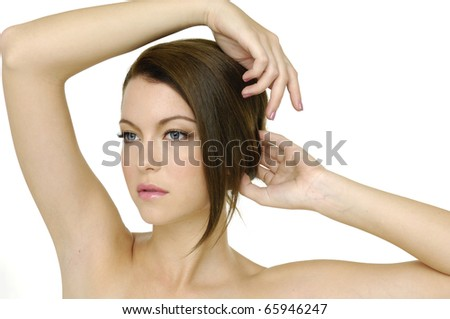 Beauty and health of young woman, isolated - stock photo