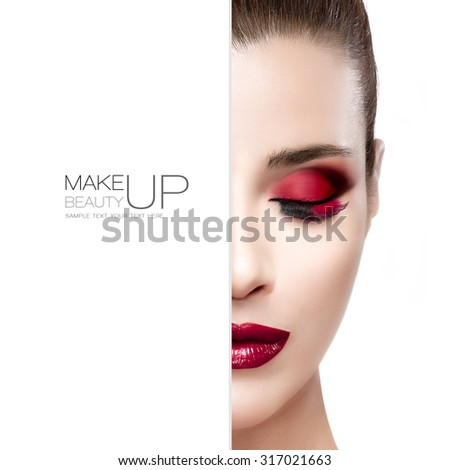 Beauty and Makeup concept with half face of a beautiful fashion model woman with festive make-up. Perfect skin. Red lips. Trendy long lashes. High fashion portrait isolated on white with sample text - stock photo