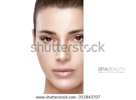 Beauty and skincare concept. Portrait of a gorgeous woman with a flawless smooth complexion and blank copy space alongside with sample text. Template design - stock photo