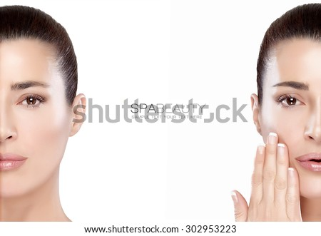 Beauty and skincare concept with two half face portraits of a serene young woman with a flawless smooth complexion, isolated on white with copy space in the middle and sample text. Template design - stock photo