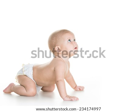 beauty baby on white background - stock photo