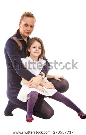 Beauty blond mother embracing happy little girl isolated on white background - stock photo