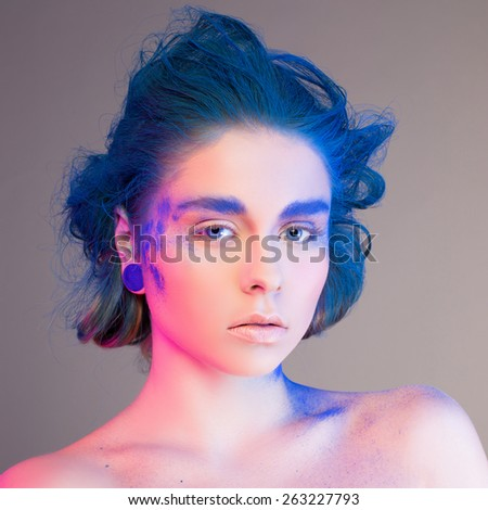 beauty blue  make-up studio - stock photo