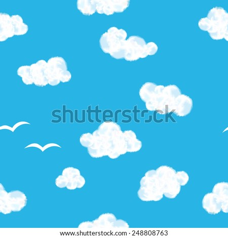 Beauty blue sky with clouds seamless pattern - stock photo