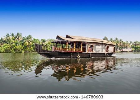 Beauty boat in the backwaters, Kerala, India - stock photo