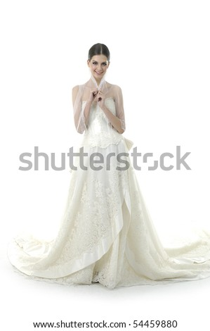 beauty bride in white dress over white - stock photo
