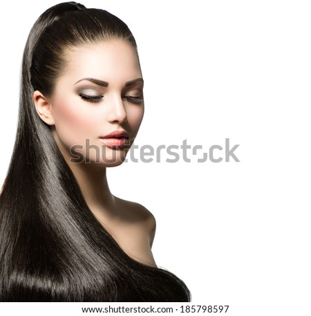 Beauty Brunette Fashion Model Girl with Long Healthy Straight Hair, Ponytail Hair. Trendy hairstyle. Beautiful Woman with brown long Healthy smooth hair  - stock photo