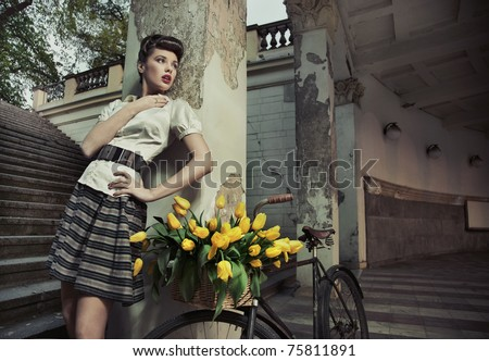Beauty brunette posing - stock photo