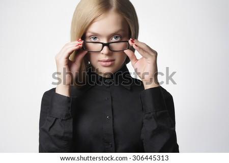 beauty business woman in formal wear. sexy teacher.beautiful blond girl in glasses - stock photo
