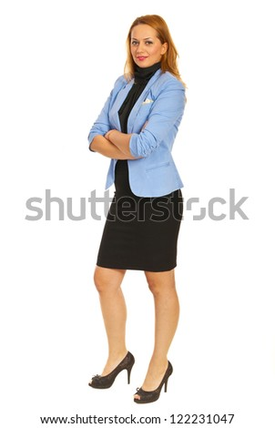 Beauty business woman standing with arms folded isolated on white background - stock photo