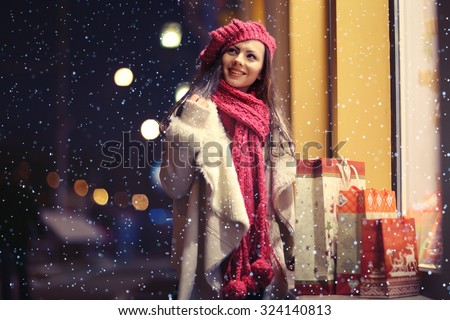 Beauty buy Christmas night shopping discounts - stock photo