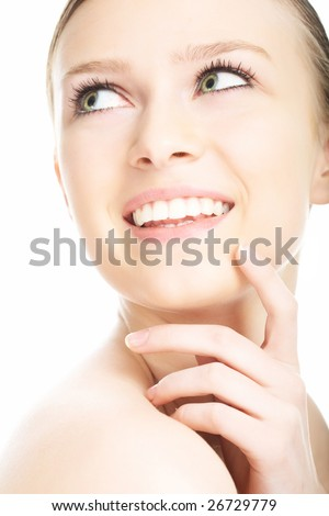 beauty close-up portrait young woman face on white background - stock photo