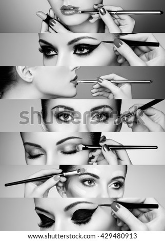 Beauty collage. Faces of women. Fashion photo. Makeup artist applies lipstick and eye shadow - stock photo