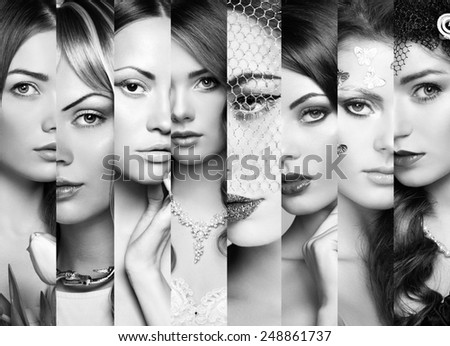 Beauty collage. Faces of women. Group of people. Fashion photo. Perfect make-up. Black and White - stock photo