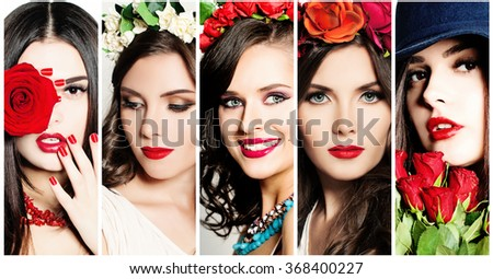 Beauty Collage. Faces of Women. Red Lips and Rose Flowers - stock photo